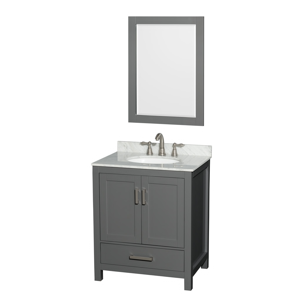 "30"" Single Bathroom Vanity in Dark Gray with Countertop, Sink, and Mirror Options"