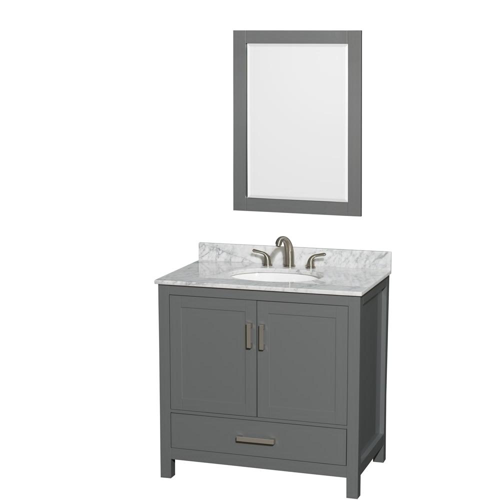 "36"" Single Bathroom Vanity in Dark Gray with Countertop, Sink, and Mirror Options"
