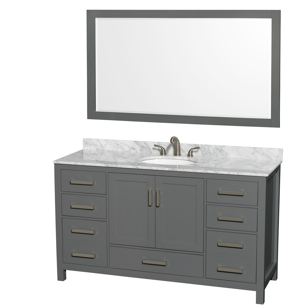 "60"" Single Bathroom Vanity in Dark Gray with Countertop, Sink, and Mirror Options"