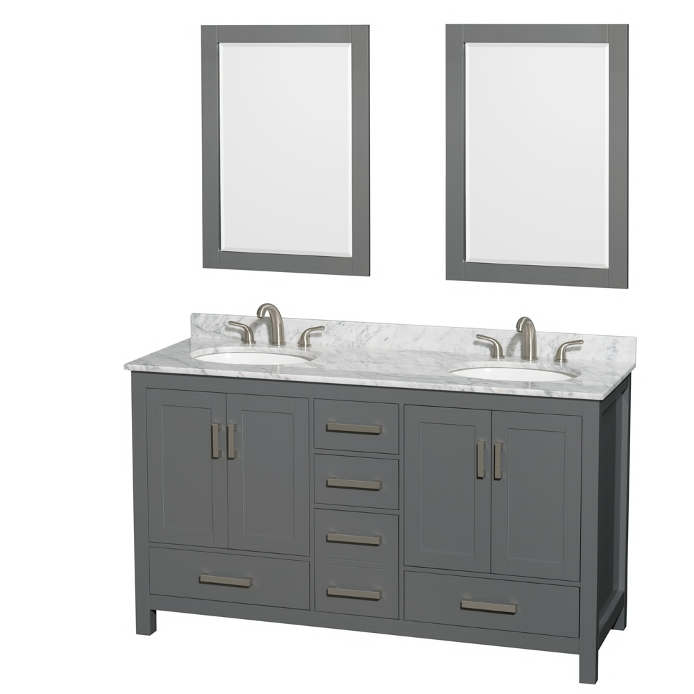 "60"" Double Bathroom Vanity in Dark Gray with Countertop, Sink, and Mirror Options"