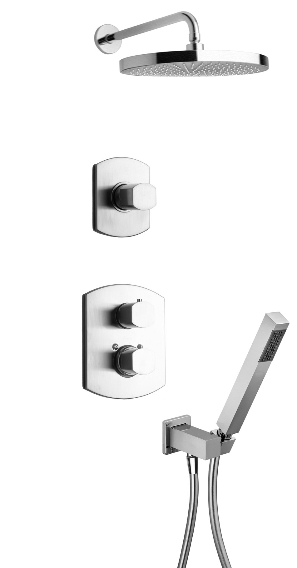 """Thermostatic Shower With 3/4"""" Ceramic Disc Volume Control, 3-Way Diverter and Hand-Shower in Chrome Finish"""