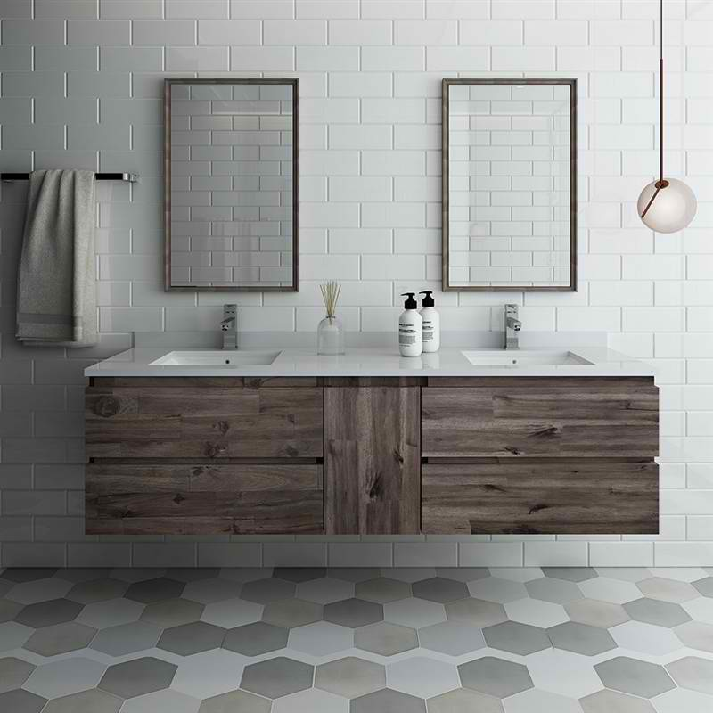 """72"""" Wall Hung Double Sink Modern Bathroom Vanity with Mirrors"""