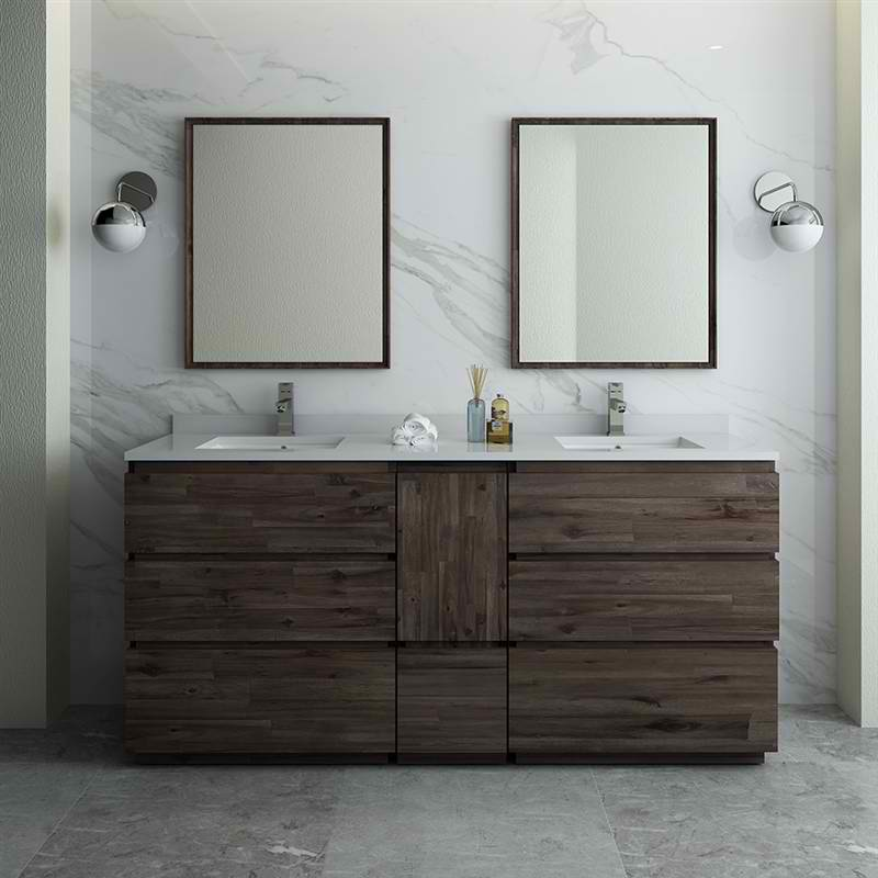 "72"" Floor Standing Double Sink Modern Bathroom Vanity with Mirrors"