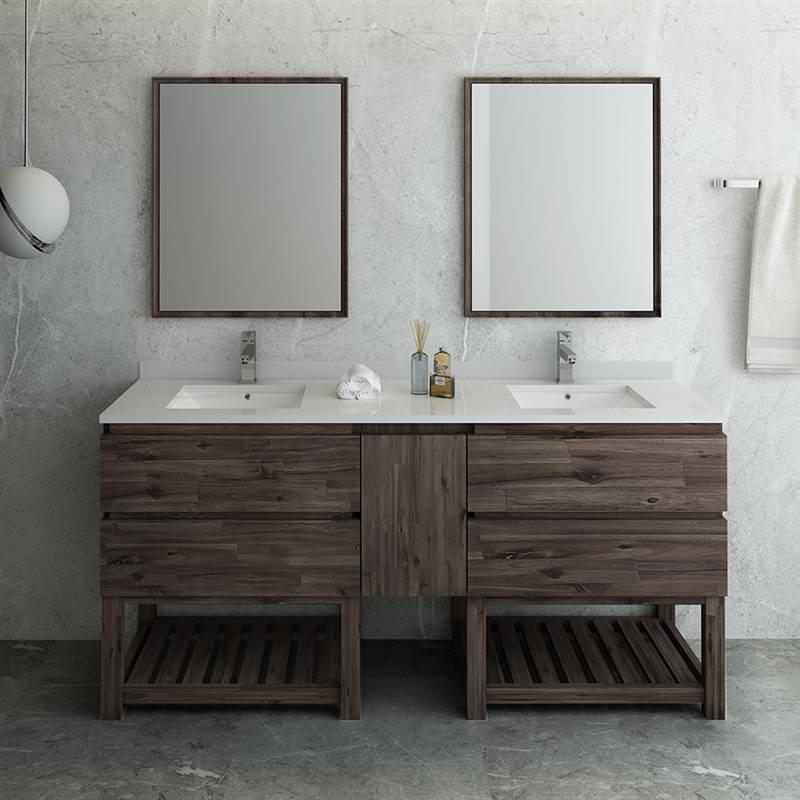 """72"""" Floor Standing Double Sink Modern Bathroom Vanity with Open Bottom & Mirrors"""