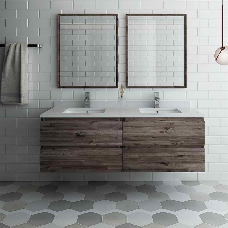 "60"" Wall Hung Double Sink Modern Bathroom Vanity w/ Mirrors"