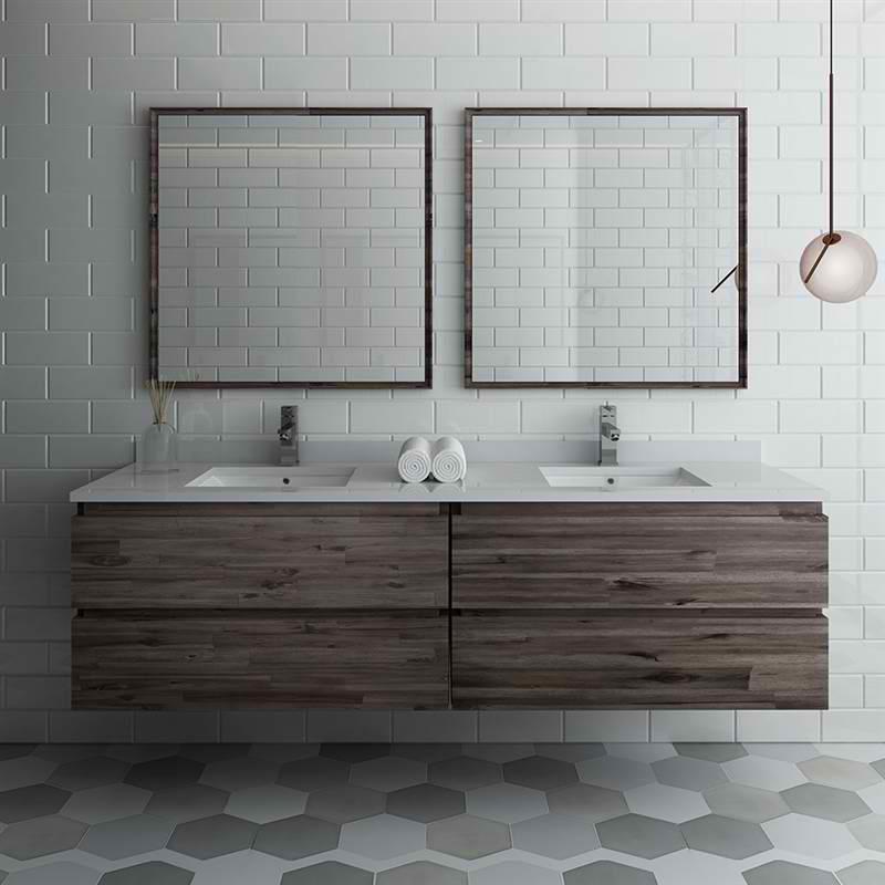 "72"" Wall Hung Double Sink Modern Bathroom Vanity w/ Mirrors"