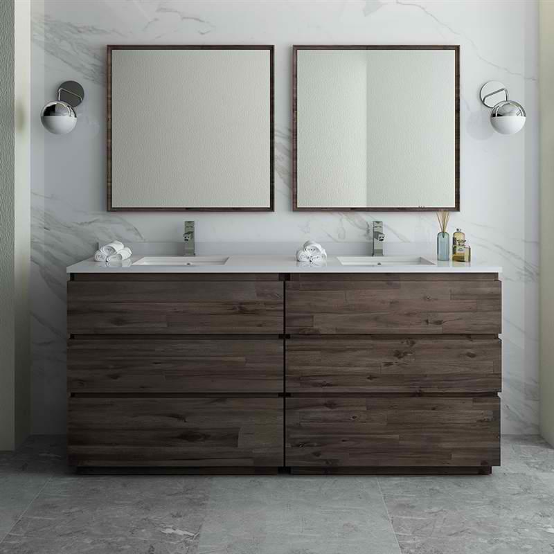 "72"" Floor Standing Double Sink Modern Bathroom Vanity w/ Mirrors"