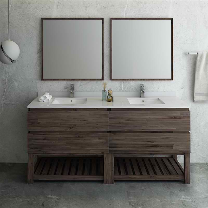 """72"""" Floor Standing Double Sink Modern Bathroom Vanity w/ Open Bottom & Mirrors"""