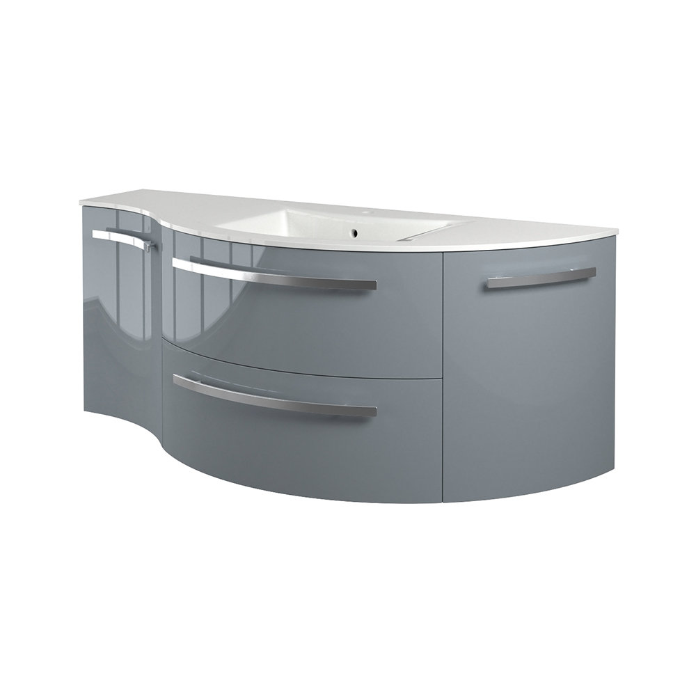 """52"""" Vanity with Left Concave and Right Rounded Cabinet with Color Options"""