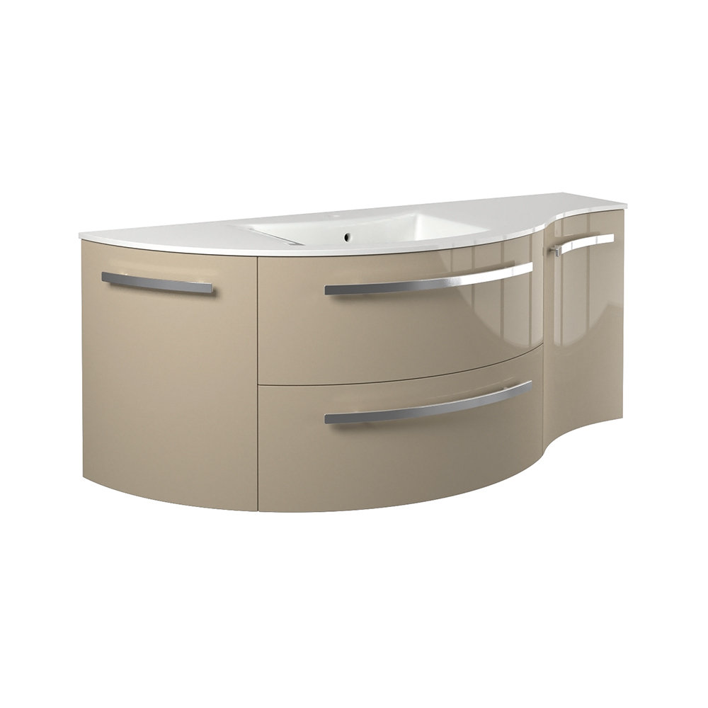 """52"""" Vanity with Left Round and Right Concave Cabinet with Color Options"""