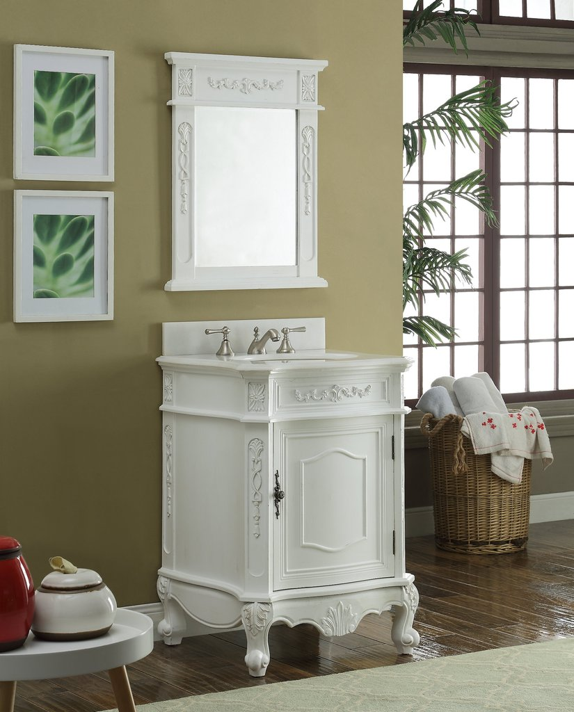 "24"" Antique White Bathroom Sink Vanity w/ Mirror Option"