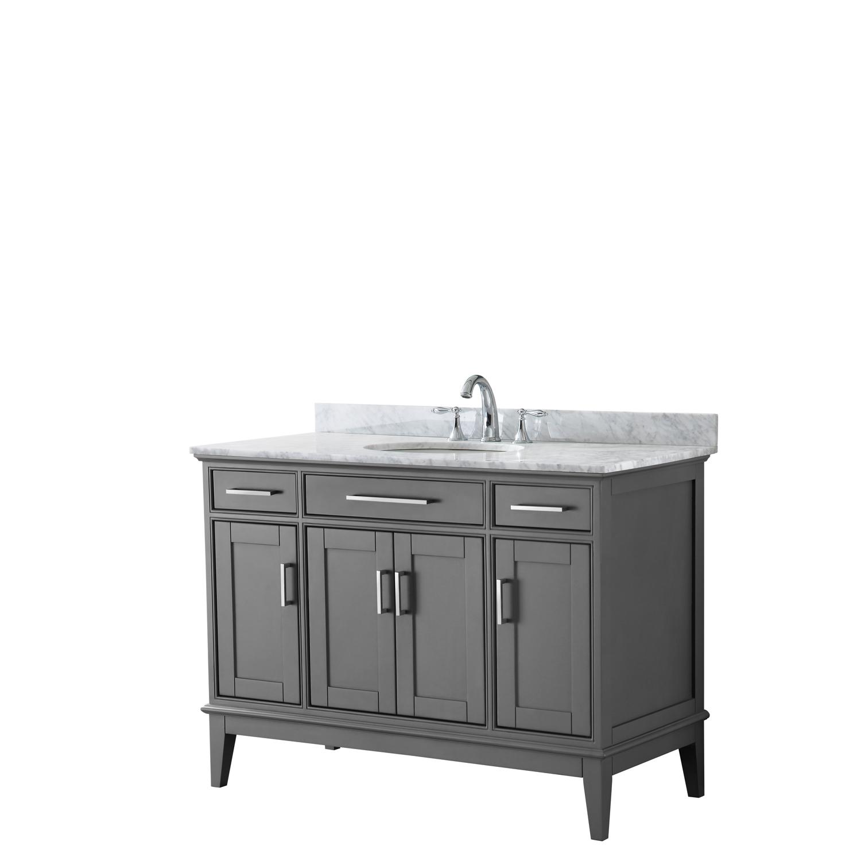 "Contemporary 48"" Single Bathroom Vanity in Dark Gray, White Carrara Marble Countertop with Undermount Sink, and Mirror Options"