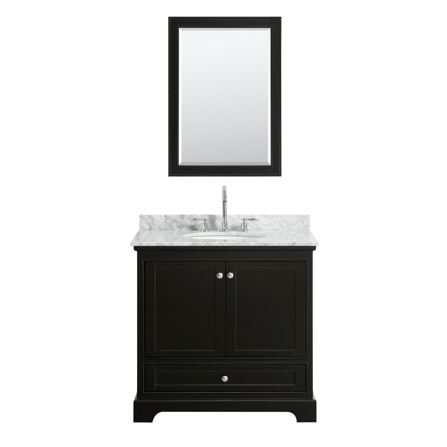"""36"""" Single Bathroom Vanity in White Carrara Marble Countertop with Undermount Porcelain Sink, Medicine Cabinet, Mirror and Color Options"""