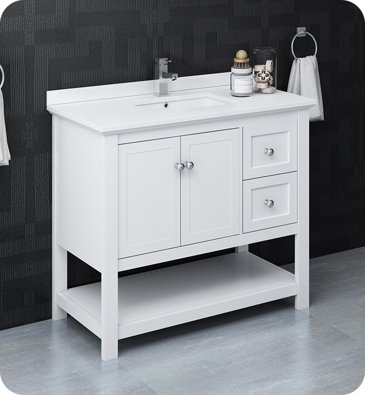 """40"""" Traditional Bathroom Cabinet with Top & Sink - Color Options"""