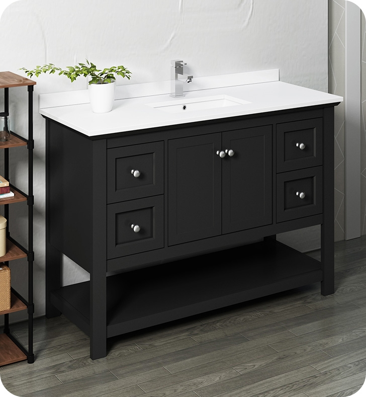 """48"""" Traditional Bathroom Cabinet with Top & Sink - Color Options"""