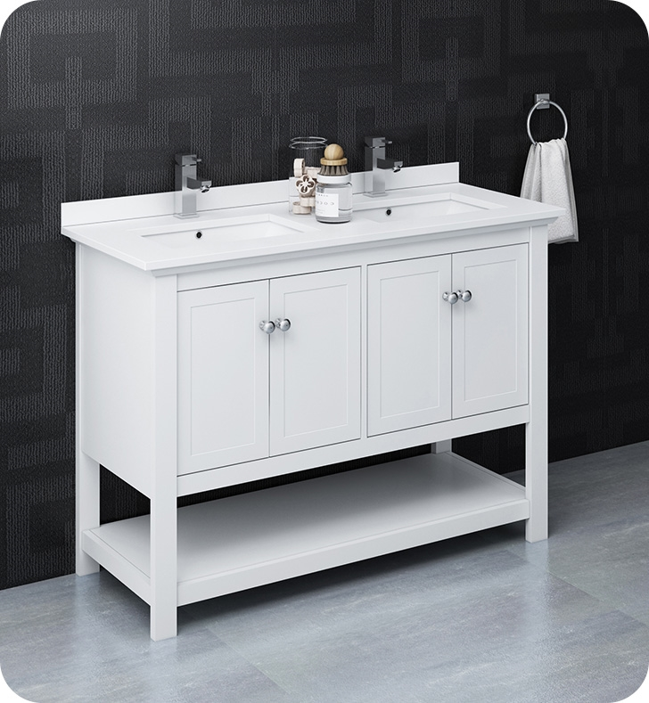 """48"""" Traditional Double Sink Bathroom Cabinet with Top & Sinks - Color Options"""