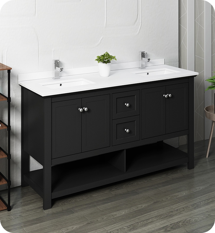 """60"""" Traditional Double Sink Bathroom Cabinet with Top & Sinks - Color Options"""