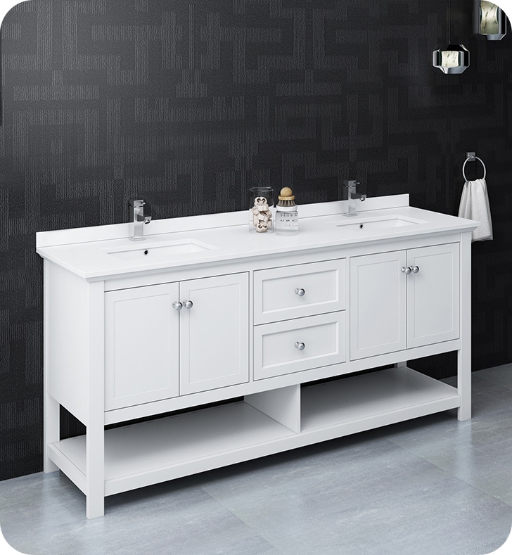 """72"""" Traditional Double Sink Bathroom Cabinet with Top & Sinks - Color Options"""