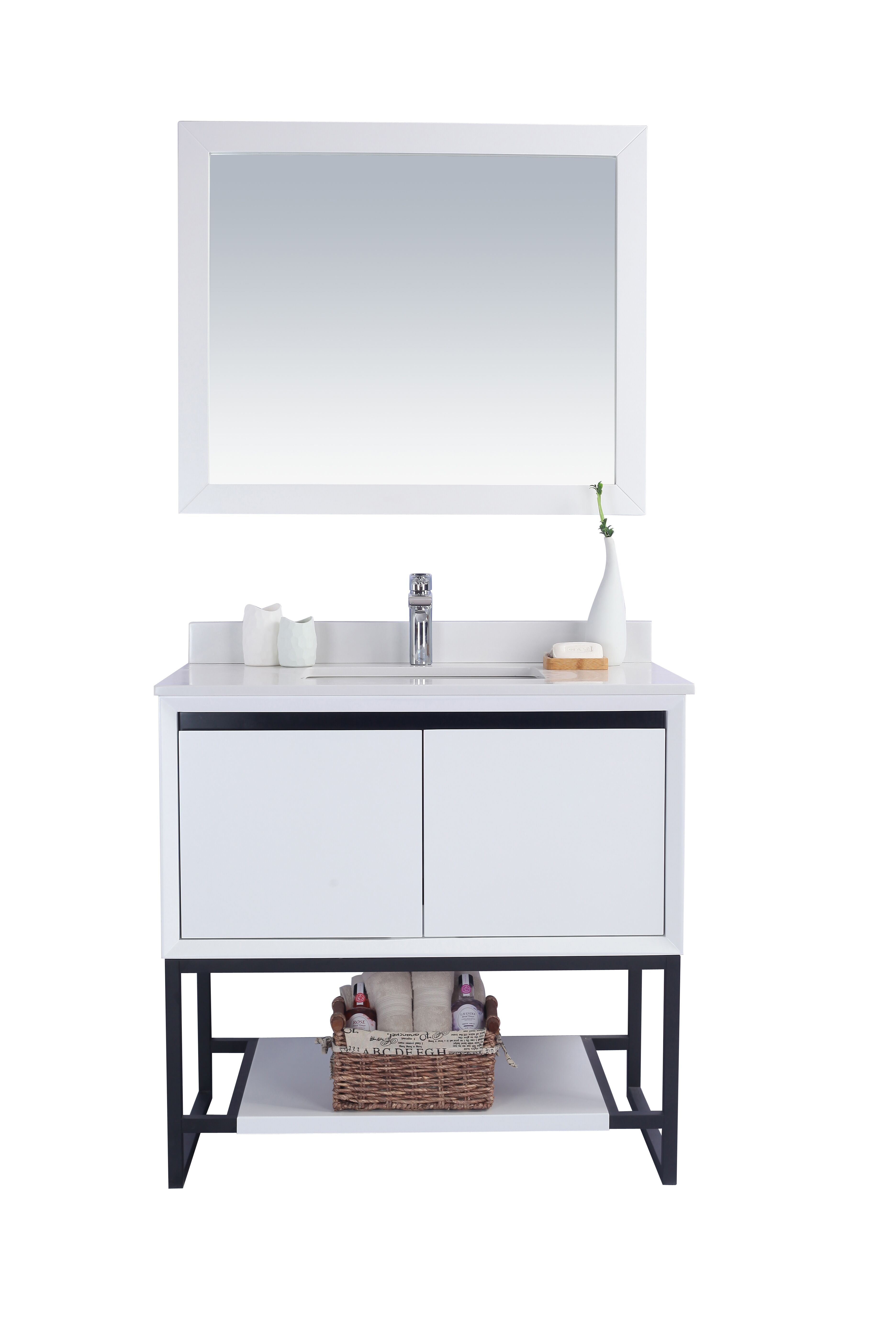 """36"""" White Bathroom Vanity Cabinet with Top and Mirror Options"""