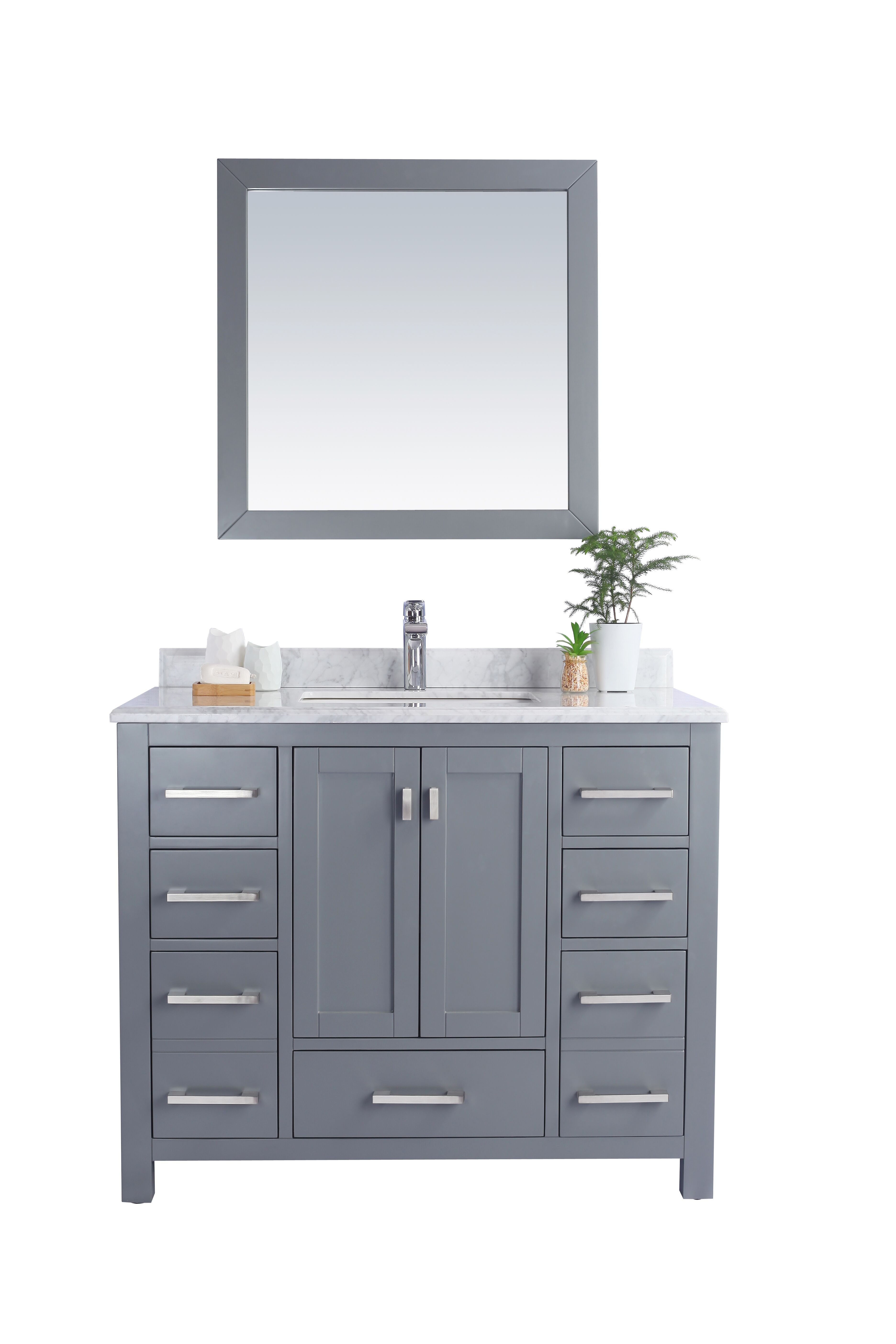 "42"" Single Sink Bathroom Vanity Cabinet + White Carrara Countertop with Mirror Options"