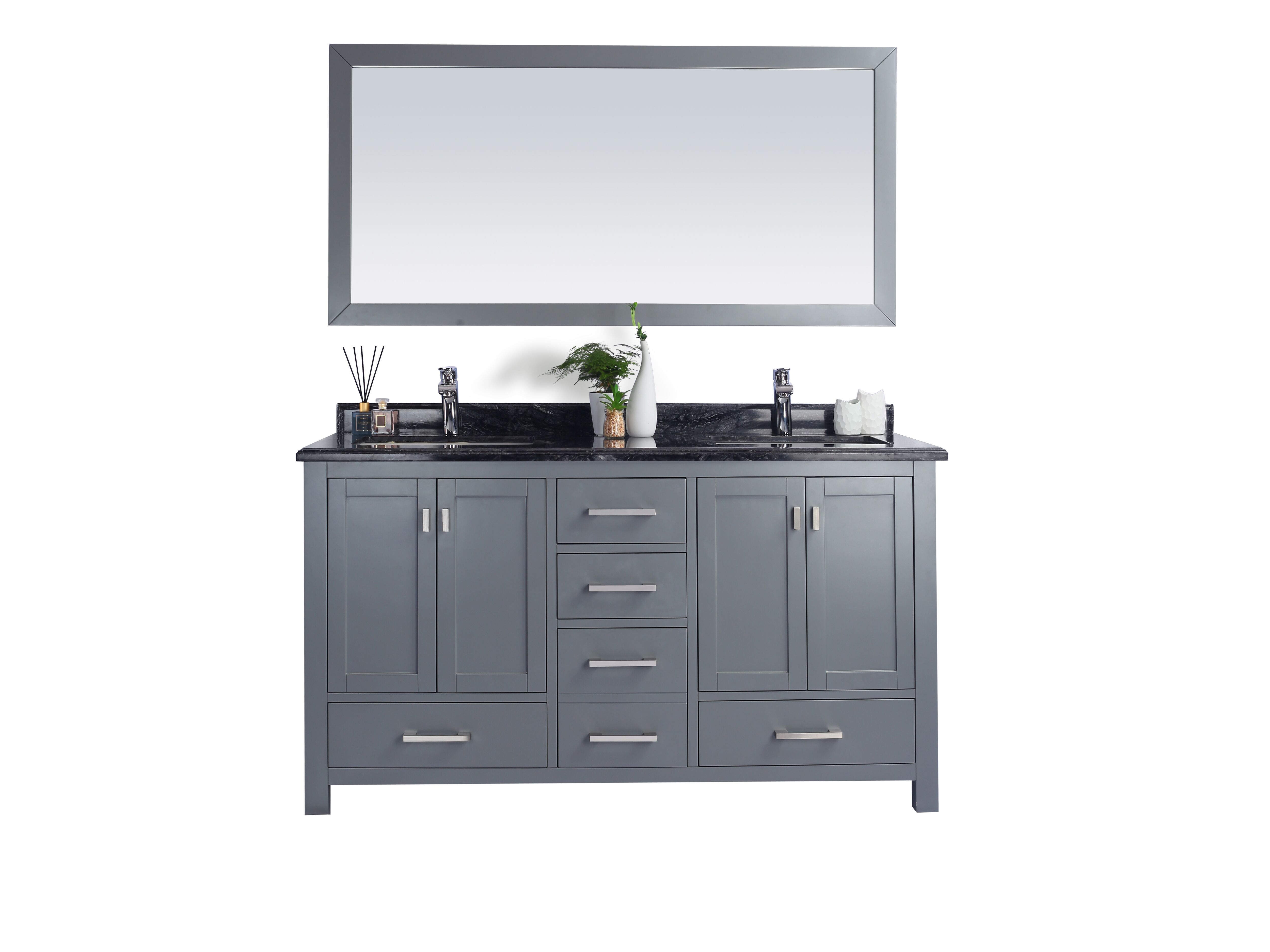 """60"""" Double Sink Bathroom Vanity Cabinet + Top and Color Options"""