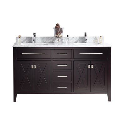 """60"""" Double Sink Bathroom Cabinet + Top and Color Options"""