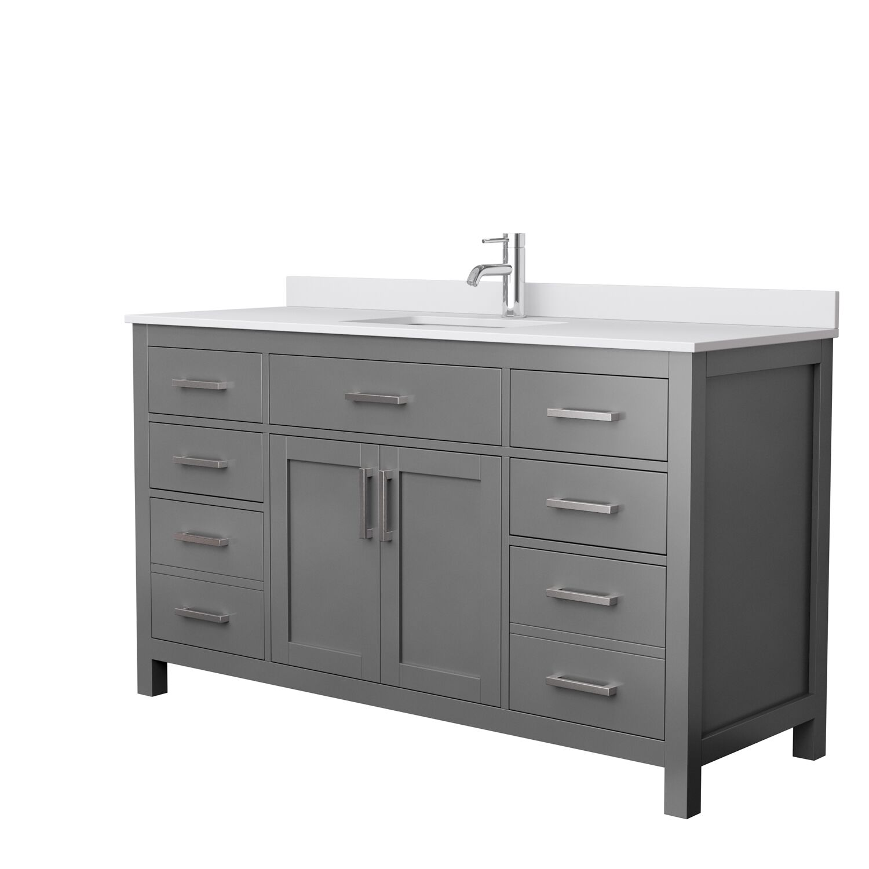 "60"" Single Bathroom Vanity in Dark Gray, White Cultured Marble Countertop, Undermount Square Sink, No Mirror"