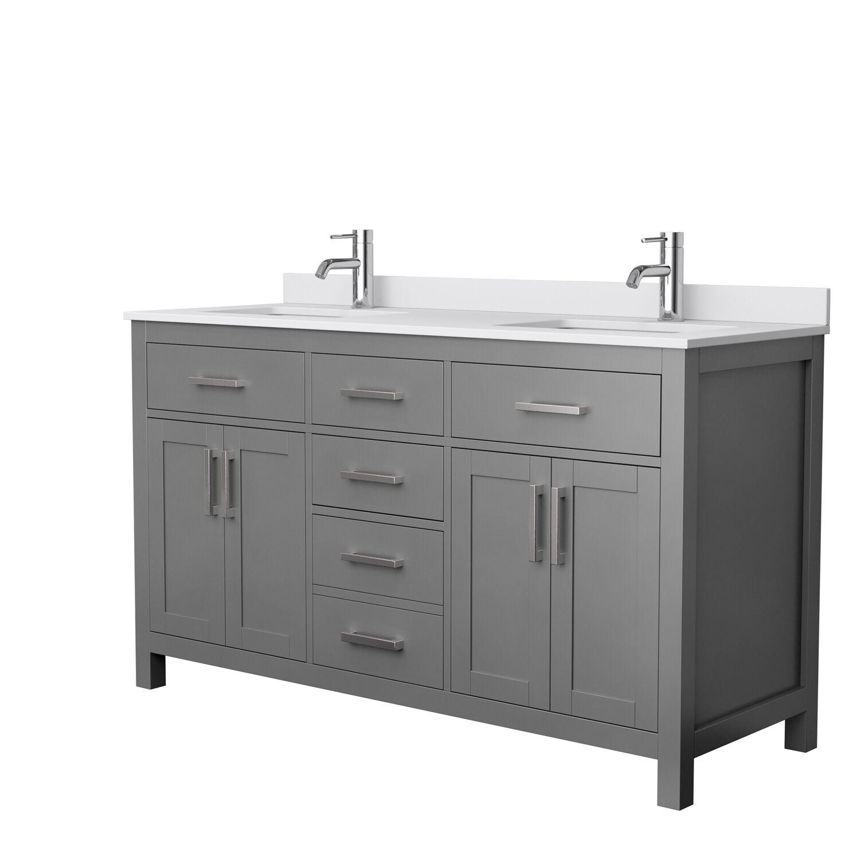 "60"" Double Bathroom Vanity in Dark Gray, White Cultured Marble Countertop, Undermount Square Sinks, No Mirror"