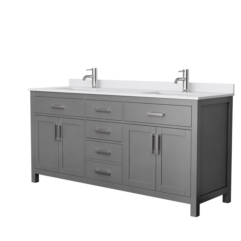 "72"" Double Bathroom Vanity in Dark Gray, White Cultured Marble Countertop, Undermount Square Sinks, No Mirror"