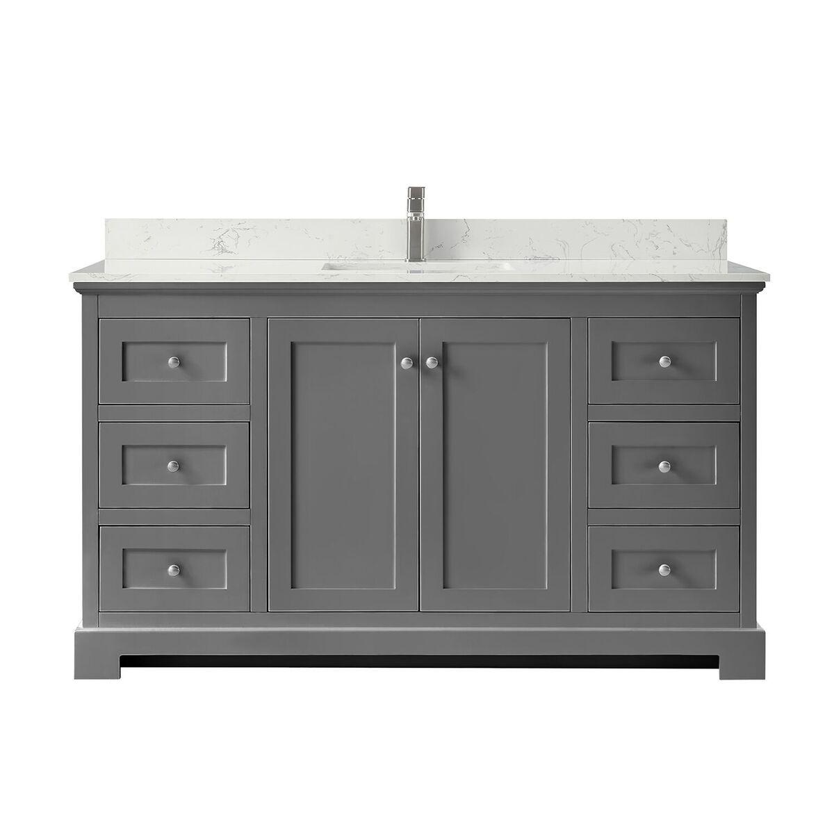 """60"""" Single Bathroom Vanity in Dark Gray, Carrara Cultured Marble Countertop, Undermount Square Sink, No Mirror"""