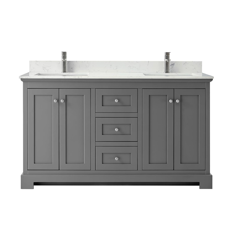 """60"""" Double Bathroom Vanity in Dark Gray, Carrara Cultured Marble Countertop, Undermount Square Sinks, No Mirror"""