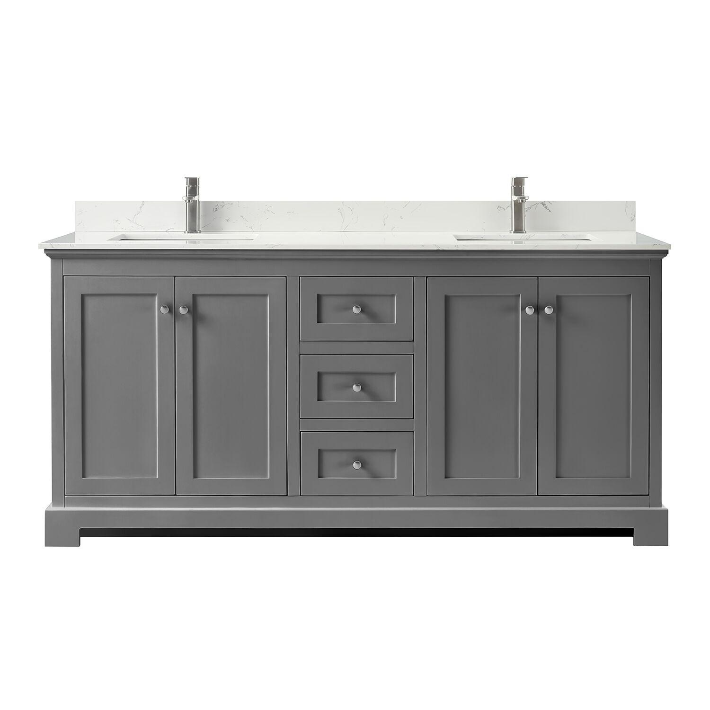 """72"""" Double Bathroom Vanity in Dark Gray, Carrara Cultured Marble Countertop, Undermount Square Sinks, No Mirror"""