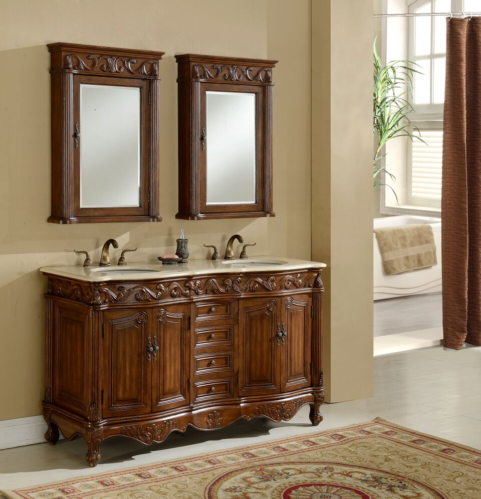 """60"""" Deep Chestnut Finish Double with Matching Medicine Cabinet"""