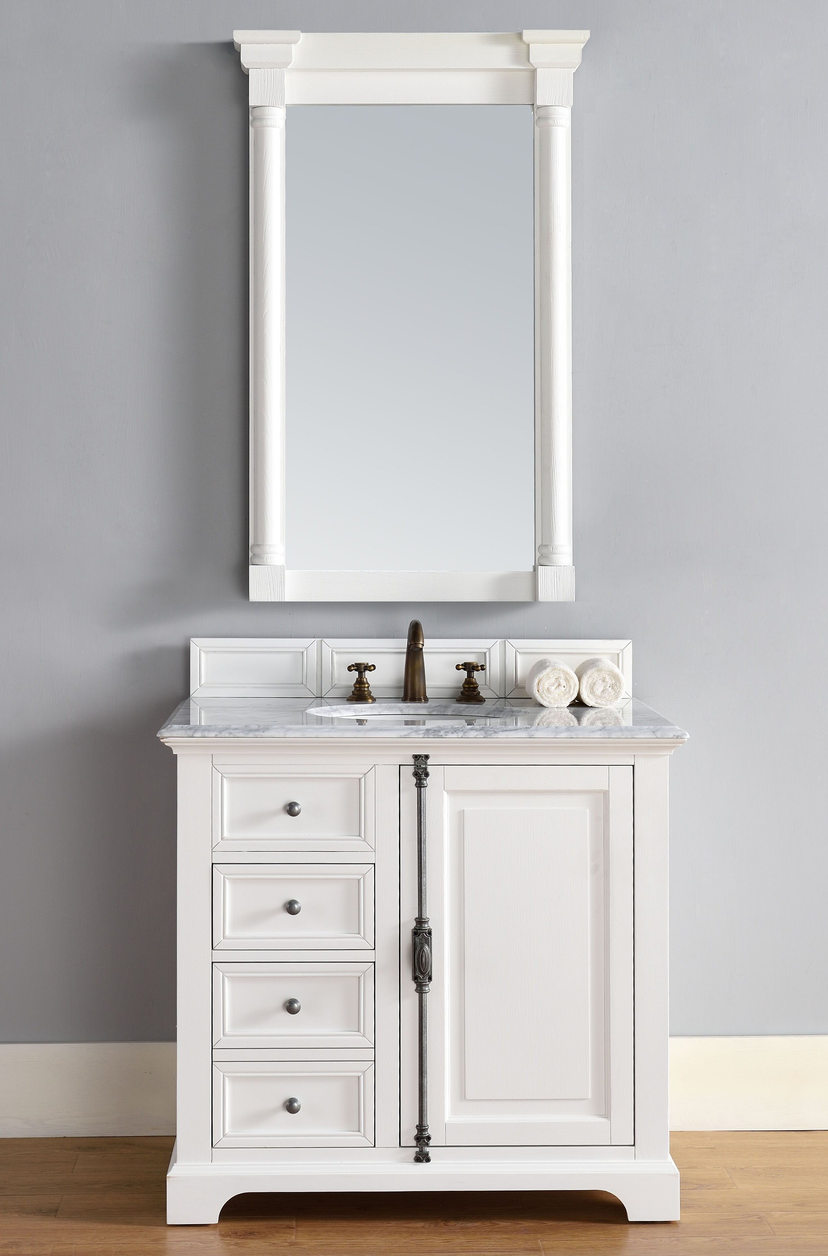 "James Martin Providence Collection 36"" Single Vanity Cabinet, Cottage White Finish"