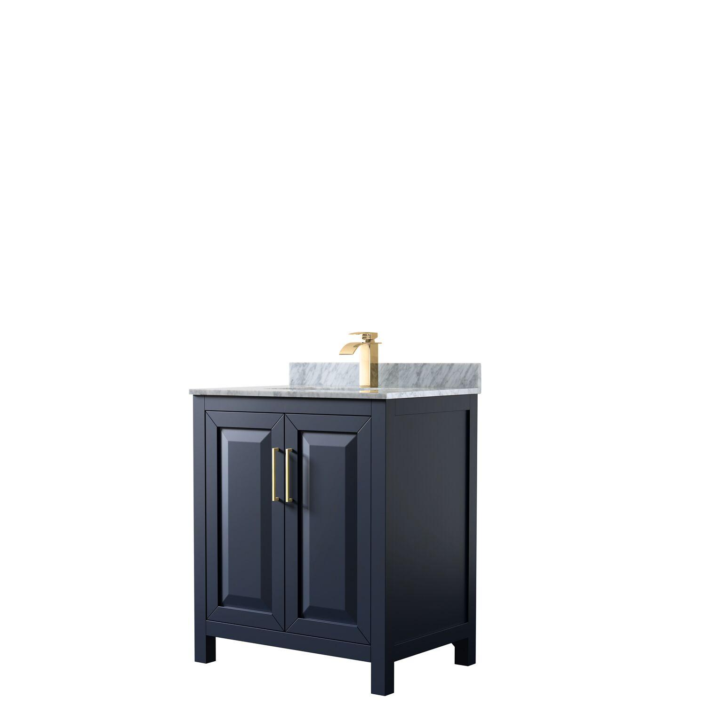 "30"" Single Bathroom Vanity in Dark Blue with Countertop, Mirror and Medicine Cabinet Options"
