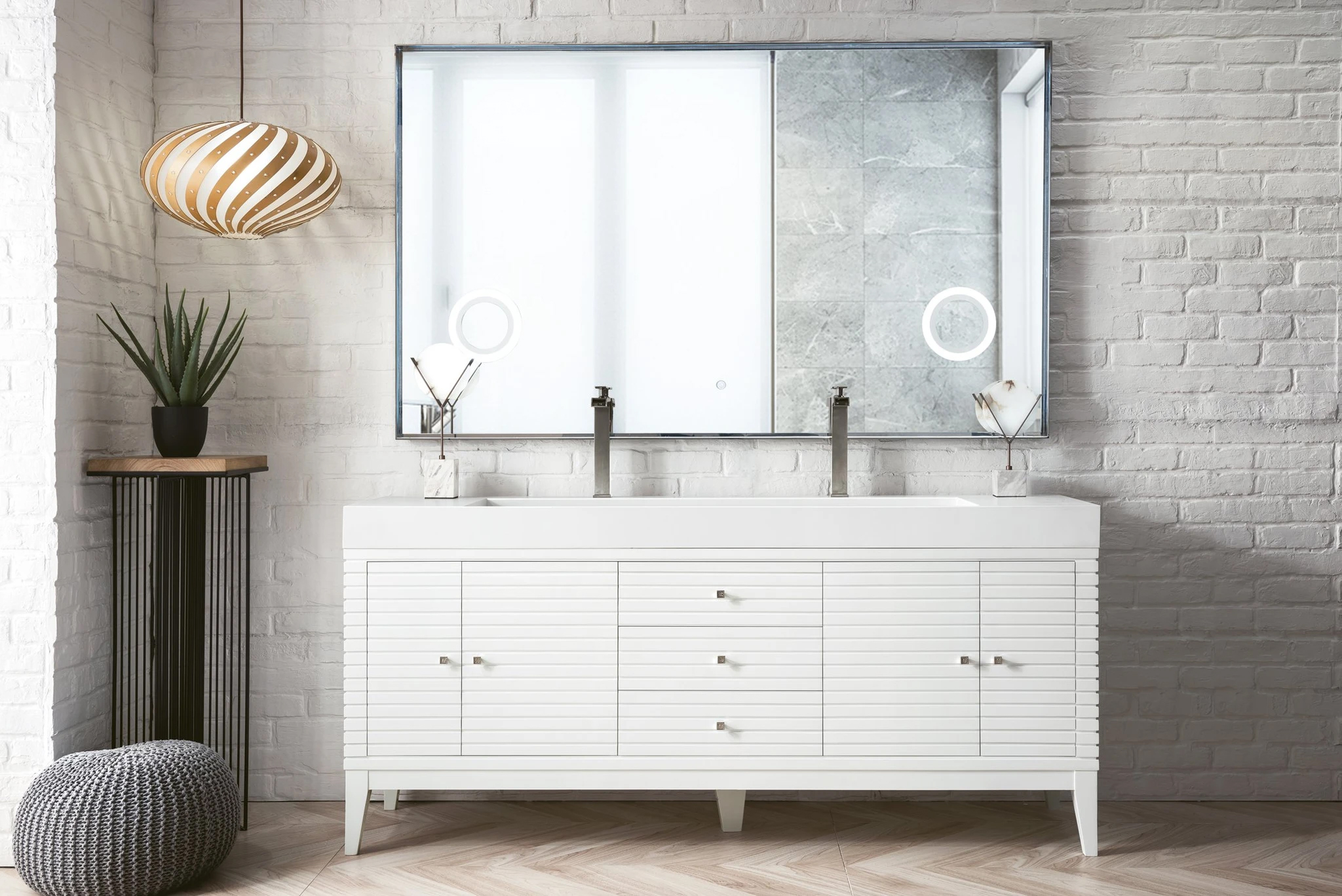 """James Martin Linear Collection 72"""" Double Vanity, Glossy White Finish"""