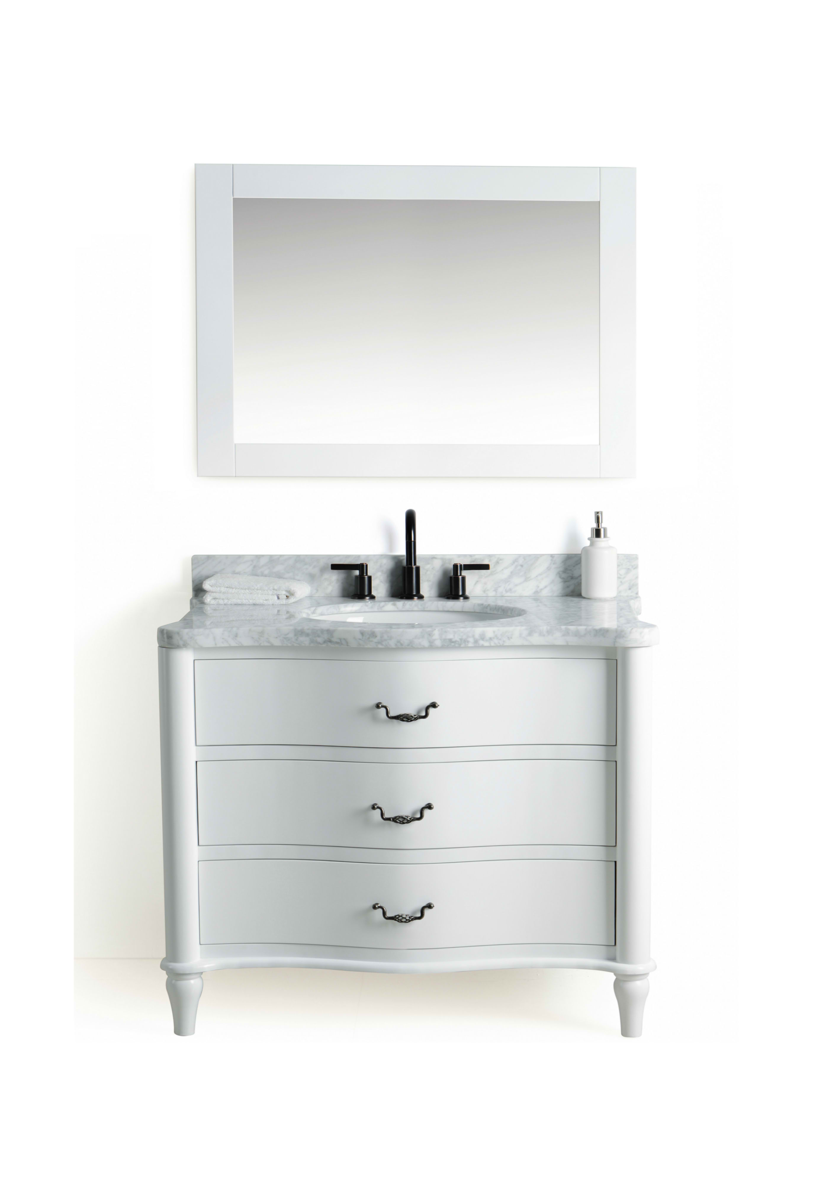 """36"""" Single Bathroom Vanity in White Finish with White Carrara Marble Top"""