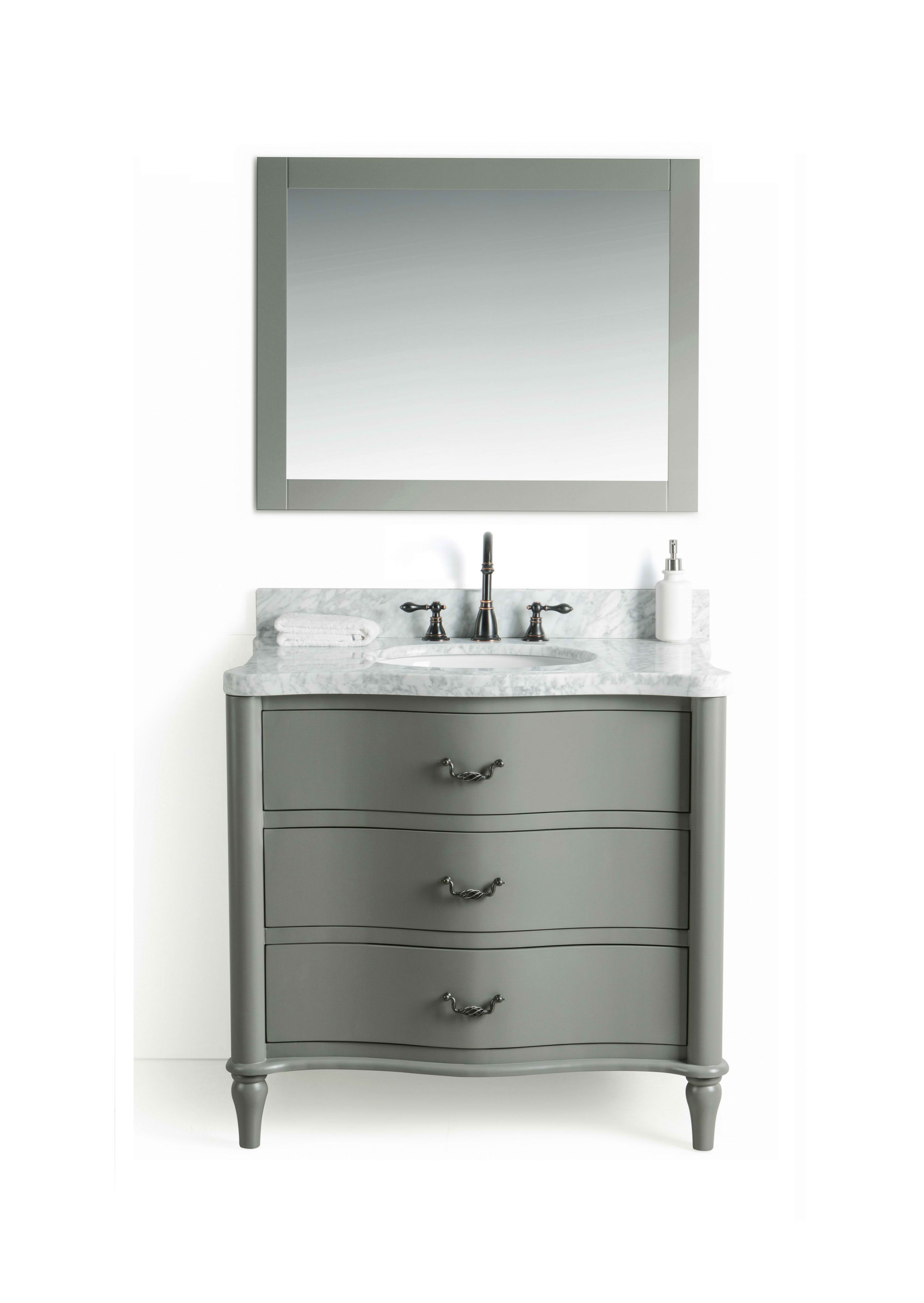 """36"""" Single Bathroom Vanity in Grey Finish with White Carrara Marble Top"""