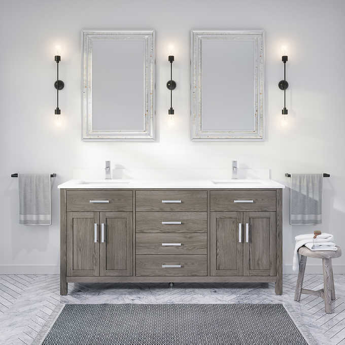 """72"""" Distressed Gray Vanity Finish with Cultured Marble Countertop with Matching Backsplash"""