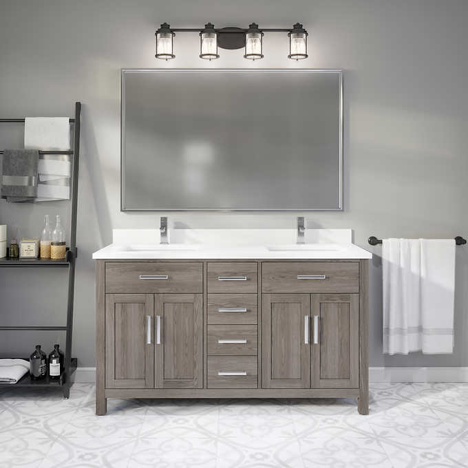 """60"""" Distressed Gray Vanity Finish with Cultured Marble Countertop with Matching Backsplash"""