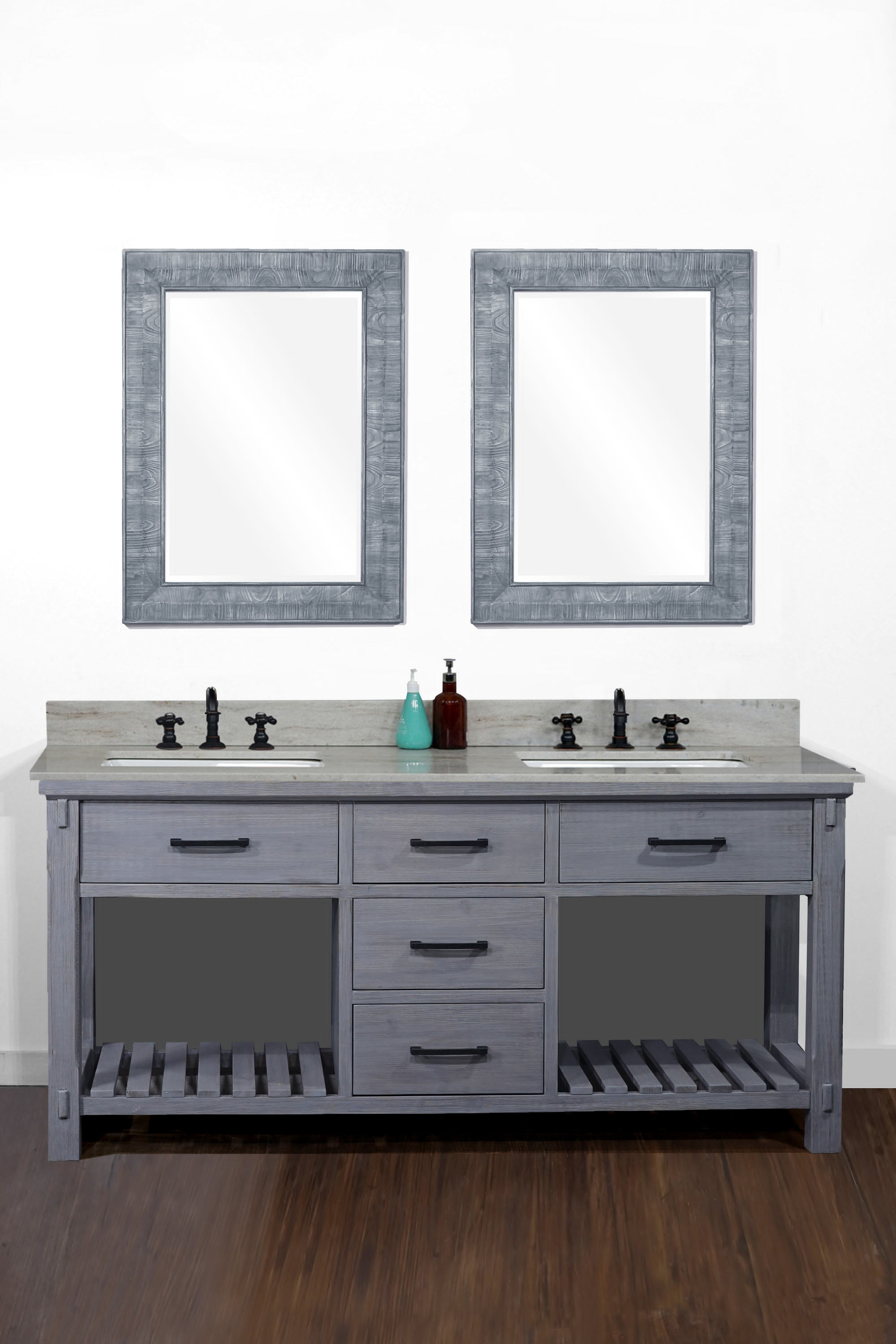 """72"""" Rustic Solid Fir Double Sink Vanity in Blue Grey Driftwood - No Faucet with Countertop Options"""