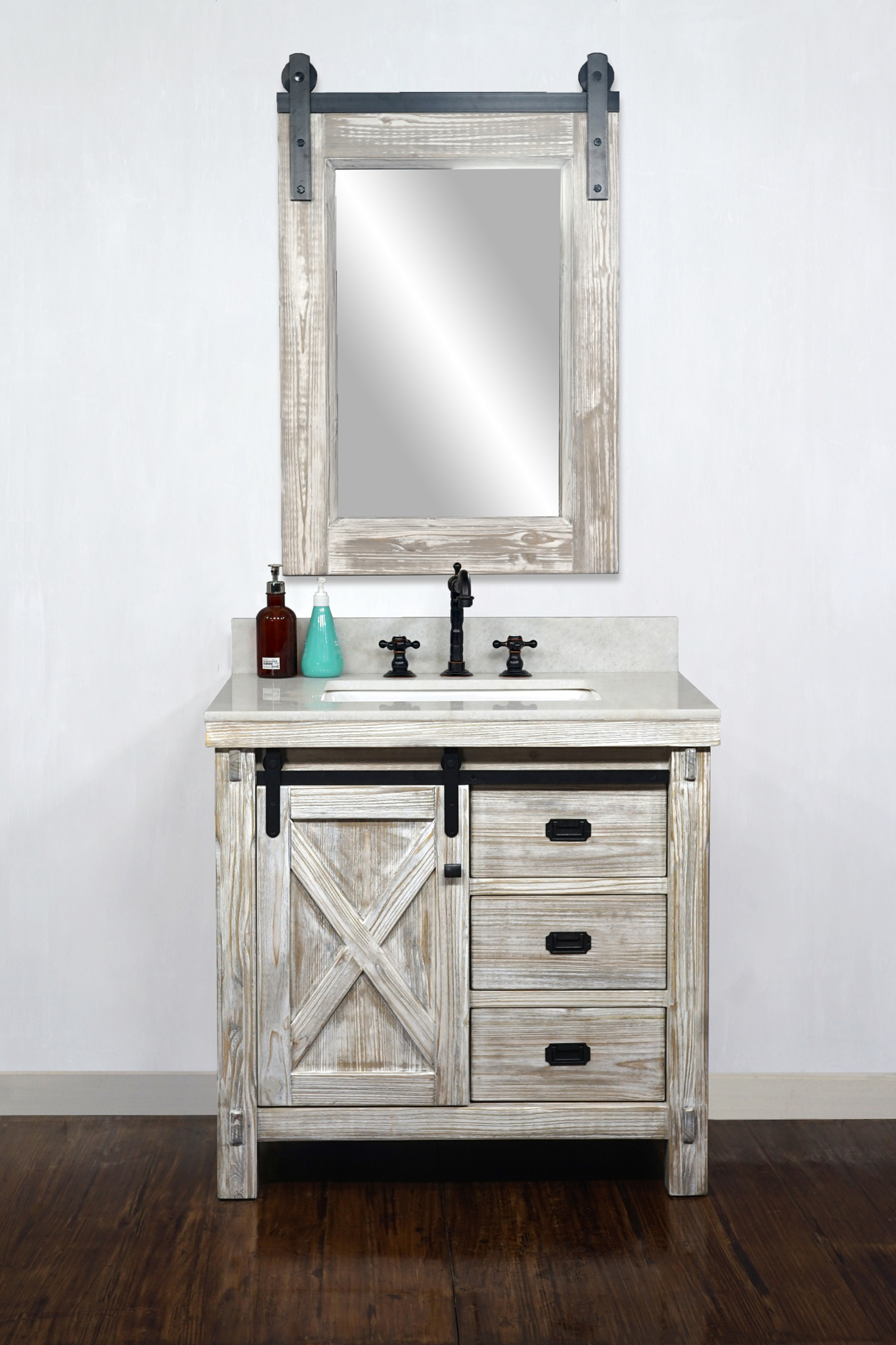 "36"" Rustic Solid Fir Barn Door Style Single Sink Vanity in White Washed - No Faucet with Countertop Options"