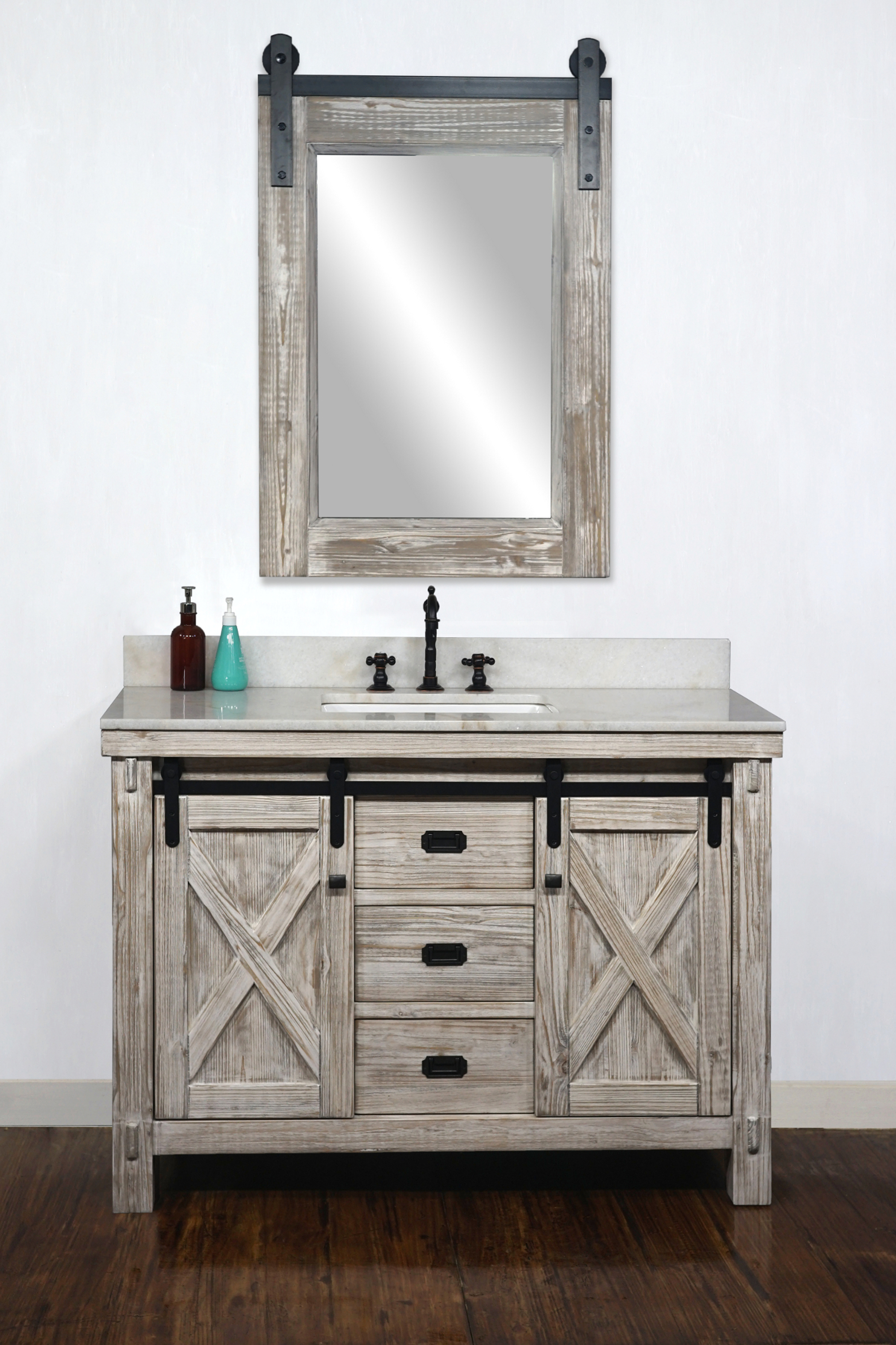 "48"" Rustic Solid Fir Barn Door Style Single Sink Vanity in White Washed - No Faucet with Countertop Options"