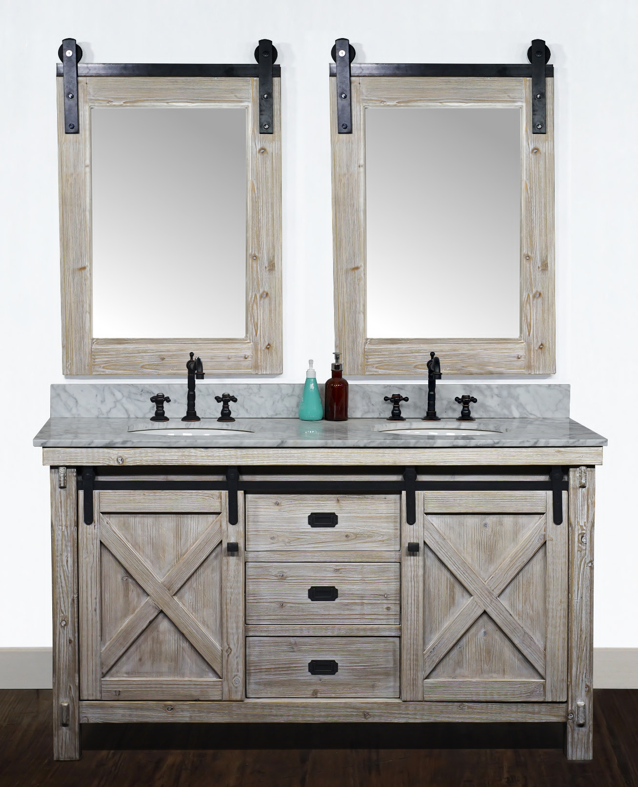 "60"" Rustic Solid Fir Barn Door Style Double Sink Vanity - No Faucet with Countertop Options"