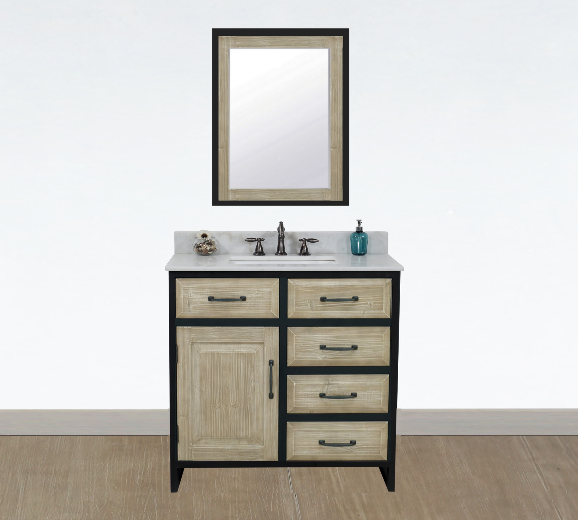 "36"" Rustic Solid Fir Single Sink with Iron Frame Vanity - No Faucet with Countertop Options"