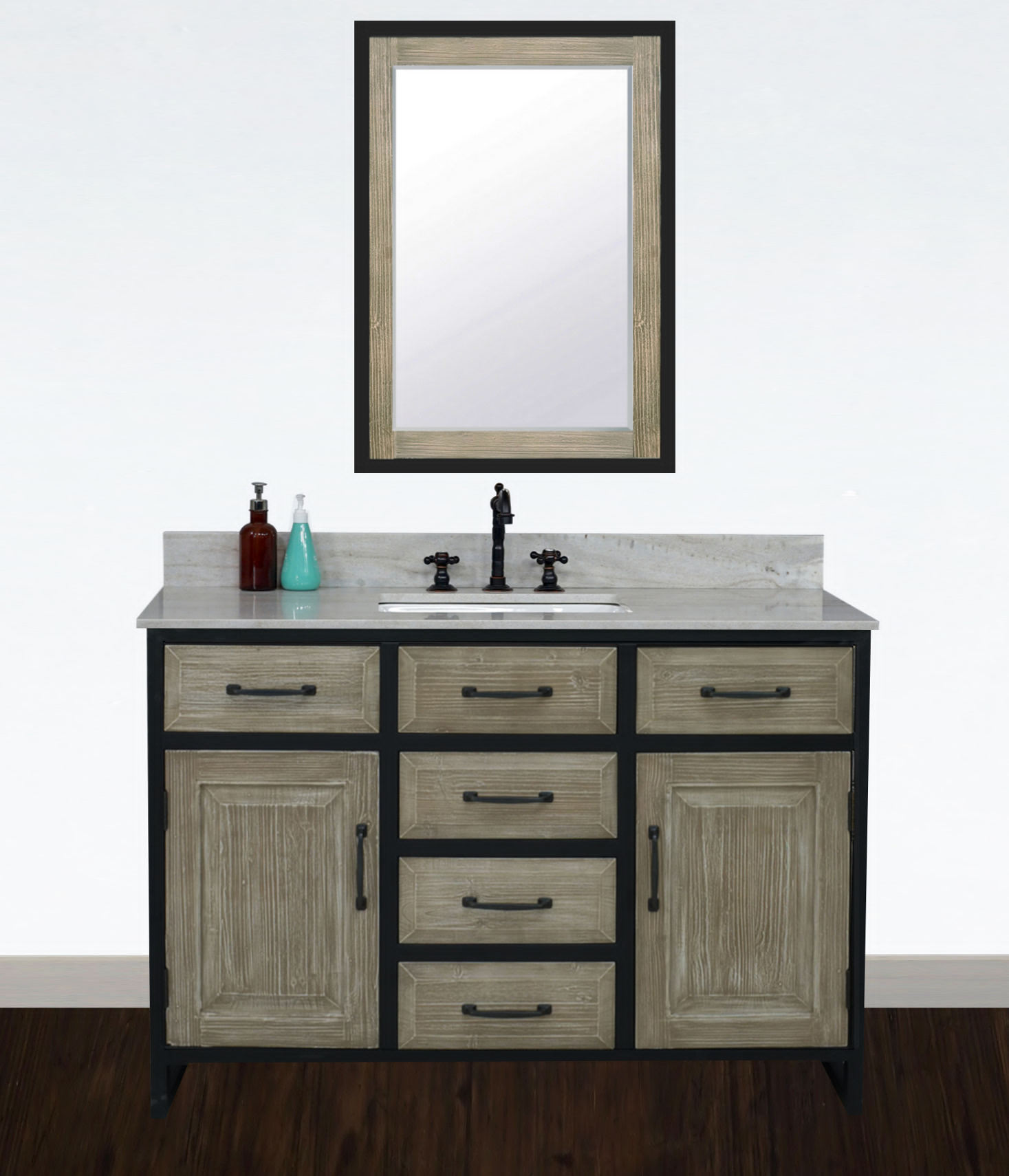 """48"""" Rustic Solid Fir Single Sink with Iron Frame Vanity - No Faucet with Countertop Options"""
