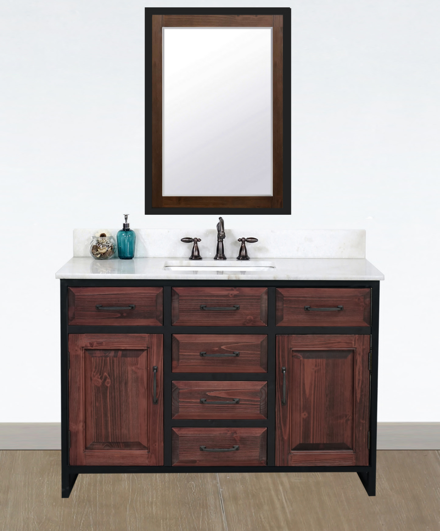 """48"""" Rustic Solid Fir Single Sink with Iron Frame Vanity in Brown Driftwood - No Faucet with Countertop Options"""