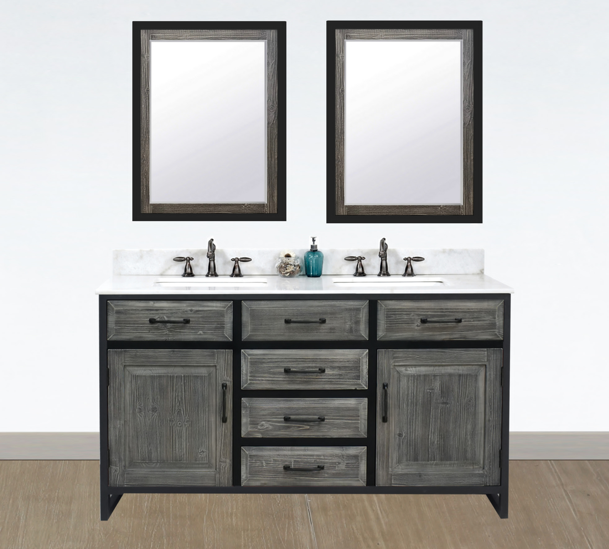 "60"" Rustic Solid Fir Double Sink with Iron Frame Vanity in Grey Driftwood - No Faucet with Countertop Options"