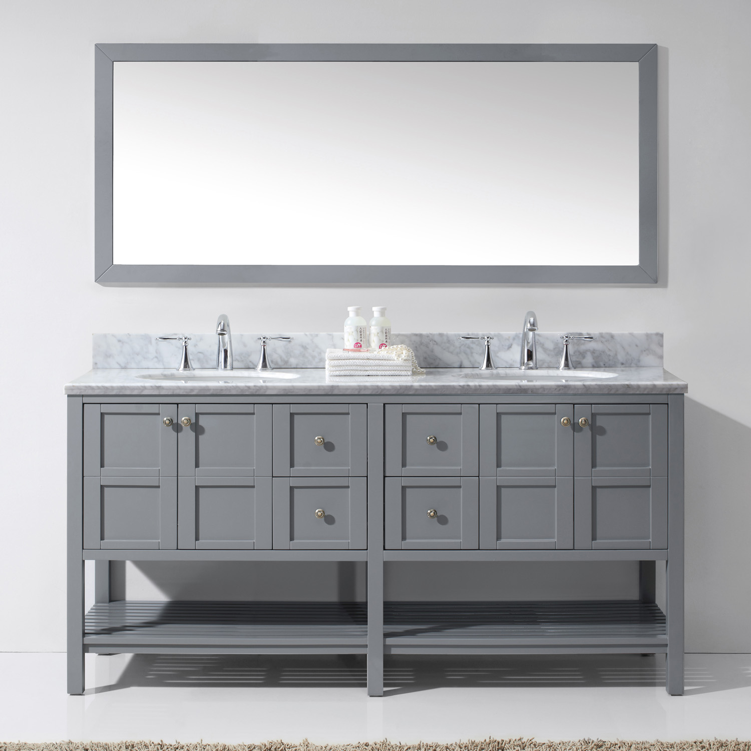 """72"""" Double Bath Vanity in Grey Finish with Marble Top and Round Sink with Mirror Options"""