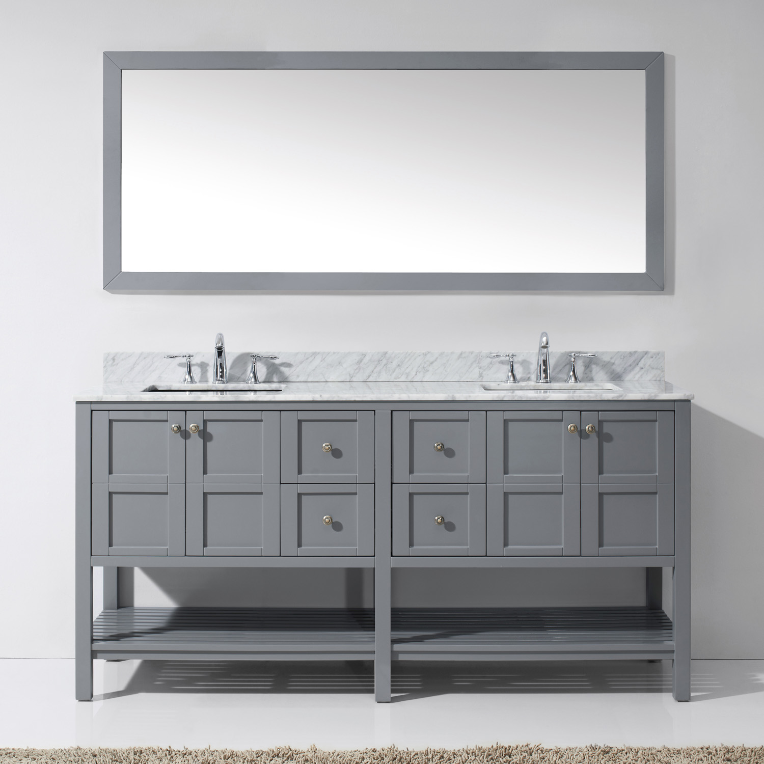 """72"""" Double Bath Vanity in Grey Finish with Marble Top and Square Sink with Faucet and Mirror Options"""